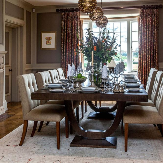 vaughan lighting curtains cushions upholstery dining table Simmons Interiors Hampshire Surrey Sussex
